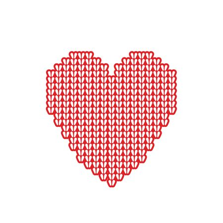 Valentine with a stylized heart cozy, knit from yarn. Made in vector, perfect for greeting cards in honor of Valentines day and patterns.