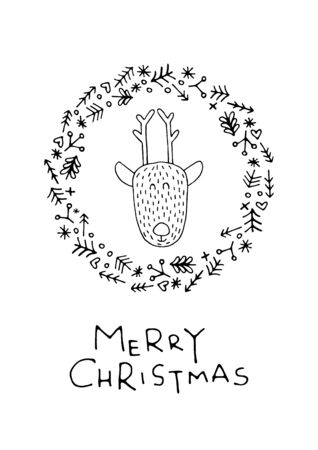 underneath: Greeting card with lettering, wishes, holiday Christmas or New Year. Christmas, lettering written underneath the Christmas wreath which features a cartoon animal