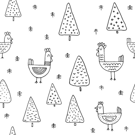 scandinavian: scandinavian seamless pattern of Christmas tree vector hand-drawing graphics.