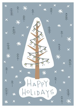 Vector hand drawn Merry Christmas greeting card with cute xmas tree on the background of the pattern with winter elements . Illustration