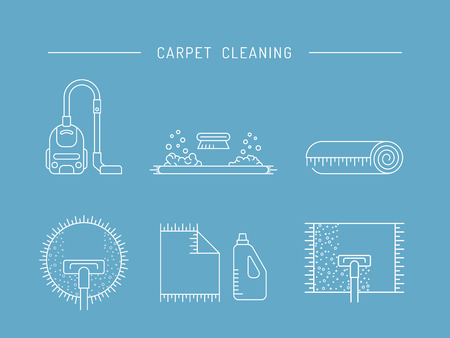 carpet cleaning service design: Cleaning of carpets with vacuum cleaner and detergents drawn in a linear style. Vector logo of the cleaning company, booklet, flyer