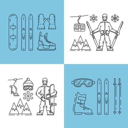 denoting: Vector linear icons set of symbols denoting the various types of winter recreation and pastimes such as skiing, snowboarding, skating. The types of winter recreation.
