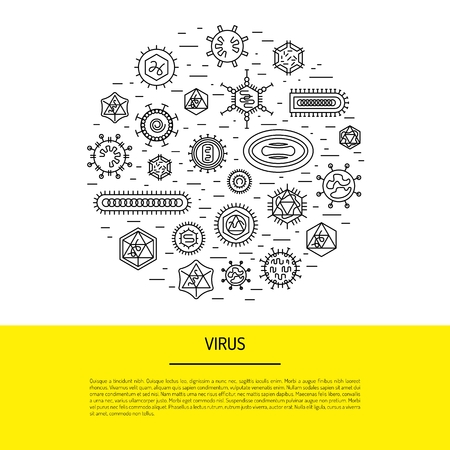 Vector illustration of cells of microorganisms, viruses, DNA and RNA. Cells of different pathogens and viruses drawn in a linear style, are icons of the cells. Illusztráció