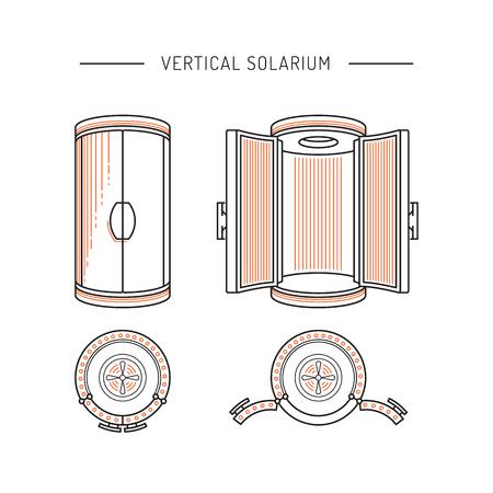 solarium dispositivo utilizado en los estudios de bronceado y salones de belleza para el bronceado artificial a través de la irradiación de los rayos UV sobre la piel humana. El Solarium vertical está pintado en un estilo de esquema lineal. Ilustración de vector