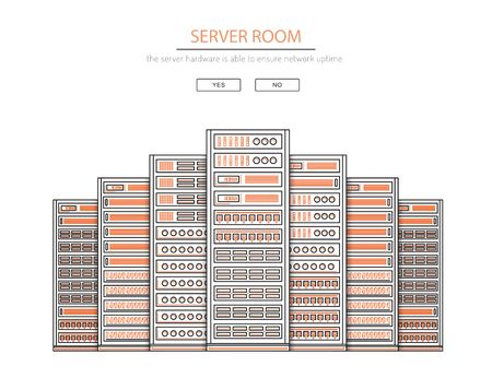 organize: Vector high tech internet data center. Network equipment that is used to organize the server room