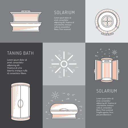 solarium dispositivo utilizado en los estudios de bronceado y salones de belleza para el bronceado artificial a través de la irradiación de los rayos UV sobre la piel humana. Establecer las cámaras de bronceado y el solarium vertical está pintado en un estilo lineal.