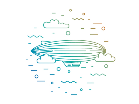 blimp: Dirigible and hot air balloons airship. Elements are drawn in vector in a linear style