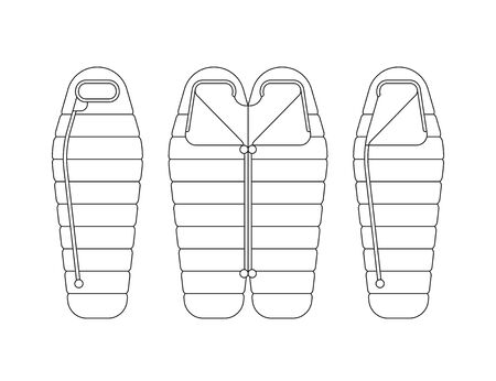 ifestyle: Sleeping bag spread out and ready to use, unbuttoned and buttoned, Packed in a roll and compressed by the bag. Vector illustration of linear, flat isolated on white background.