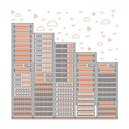 organize: high tech internet data center. Network equipment that is used to organize the server room
