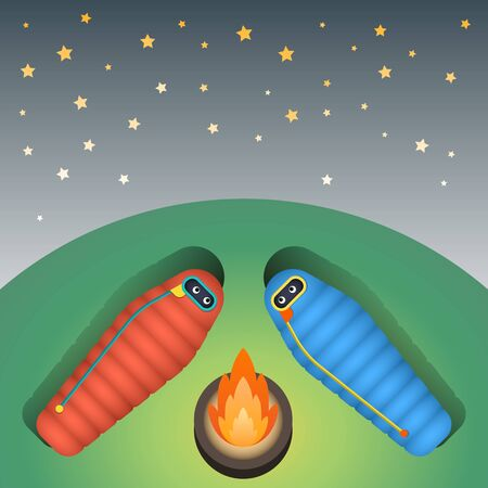 The character is in a sleeping bag sleeping on green grass on a starry sky in the camp near the fire