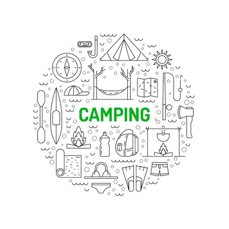 excursion: linear icons on the topic of camping and Hiking in the wild, forest, lake, mountains, painted in a linear style.