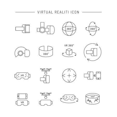 allow: Set of icons of virtual reality equipment. Glasses and virtual reality gadgets that allow you to see the virtual space.