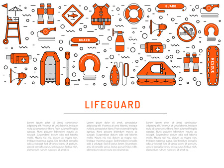 life jacket: Lifeguard flat outline icons set with with equipment and rescue equipment for the rescue of drowning. Water rescue symbols isolated illustration Illustration