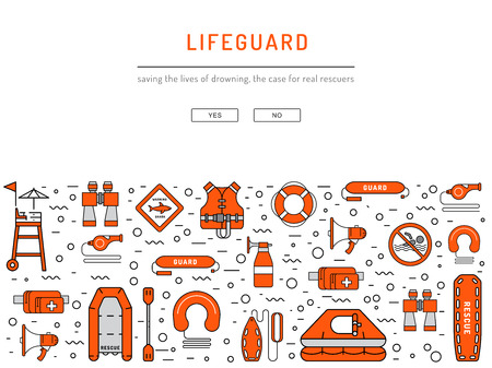 Lifeguard flat outline icons set with with equipment and rescue equipment for the rescue of drowning. Water rescue symbols isolated illustration Illustration