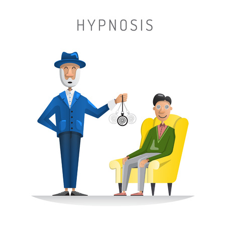 hypnotise: Flat vector illustration of medical room with patient relaxing in chair and psychologist performing hypnosis session Illustration