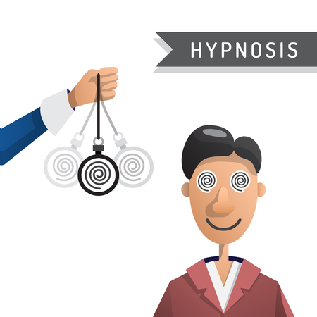hypnotise: Vector illustration of a man under hypnosis is painted in flat cartoon style on white background isolated