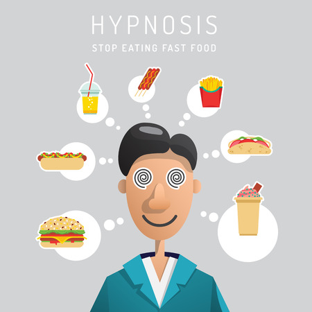 hypnotise: The man treated with hypnosis from the excessive consumption of food. Vector illustration in flat cartoon style, depicting a patient under hypnosis and thoughts about food.