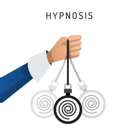 Vector la ilustración de la mano con el balanceo del péndulo que introduce al hombre en la hipnosis, dibujada en un estilo plano de la historieta. El concepto de inmersión en la hipnosis