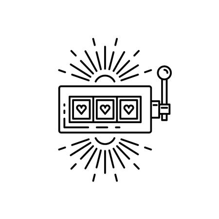 Máquina de ranura, un casino de bandido de brazo dibujado en un estilo lineal plano. Esquema de la máquina tragaperras icono donde el jackpot cae, aislado en fondo blanco Foto de archivo - 74688906