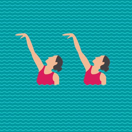 Verzameling van vector elementen in de gesynchroniseerde zwemmen illustratie van de vrouw in vlakke stijl geïsoleerd op een witte achtergrond.
