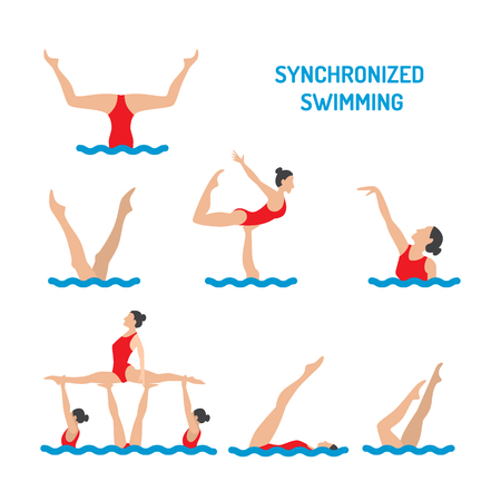 synchronized: Set of vector elements in the womens synchronised swimming illustration in flat style isolated on white background.