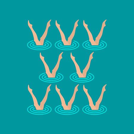 Vrouw atleet op het optreden van gesynchroniseerde zwemmen in het uitvoeren van kunstelementen Stock Illustratie