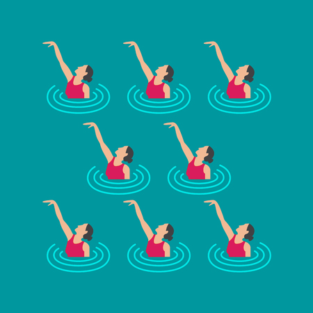 Woman athlete on the performance of synchronized swimming performing art elements 免版税图像 - 74808621