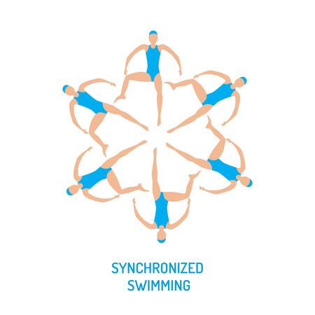 Het team van professionele atletenvrouwen van het synchrone zwemmen presteert in het cijfer van de waterkunst, vectorillustratie in vlakke stijl. Competities in synchroonzwemmen Stock Illustratie