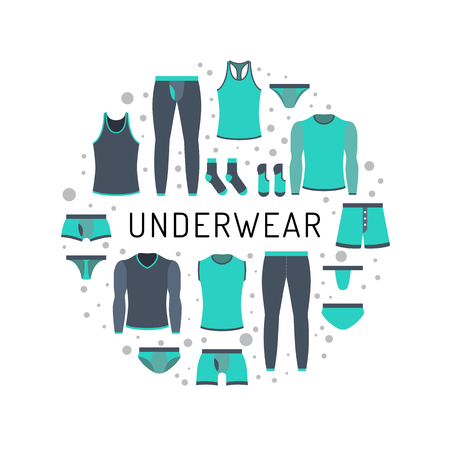 The round design of the banner to shop for men lower undergarments. Men clothing is painted in flat style in a circular composition Stock Vector - 74809086