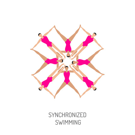 synchronized: Professional athletes womens team of synchronized swimming perform in the water art figure, vector illustration in flat style. Competitions in synchronized swimming Illustration