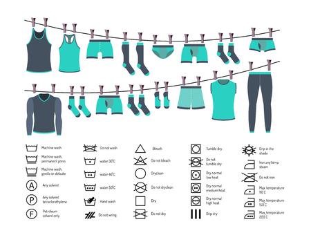 Conjunto de iconos de instrucciones para lavar la ropa. Lavado de ropa manual