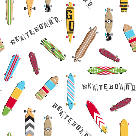 Seamless pattern with colored design skateboard and longboards. Texture boards for skating which you can use for wrapping paper, packaging, and background.