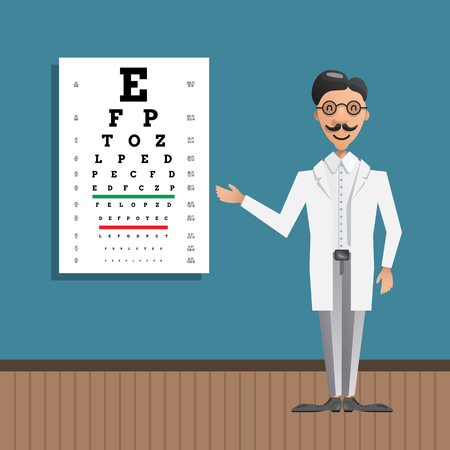 oculist: The office of an ophthalmologist in which the doctor shows on Board for eye testing. Cartoon doctor character is drawn in a flat style.