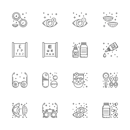 relating: Vector icons in linear style on the subject of ophthalmology relating to diseases and eye health treatment and testing. The selection of glasses and contact lenses for patients