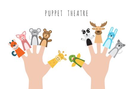 동물의 피규어, 손의 손가락을 넣어 인형극 극장의 영웅. 롤 플레잉 게임에서 어린이 놀 수있는 캐릭터의 벡터 일러스트 레이 션. 일러스트