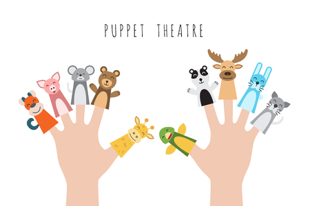 Figures of animals, heroes of the puppet theatre which put in the fingers of the hand. Vector illustration of characters to play with the children in role-playing games. 版權商用圖片 - 75440726