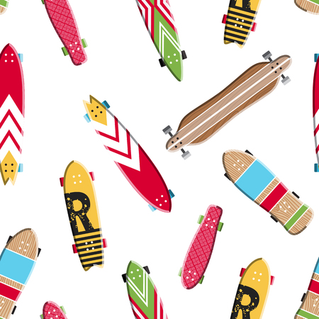 Seamless pattern with vector images skateboards, isolated on white background, wrapping skateboards Illustration