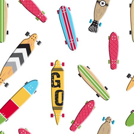 Seamless pattern with vector images skateboards, isolated on white background, wrapping skateboards Stock Illustratie