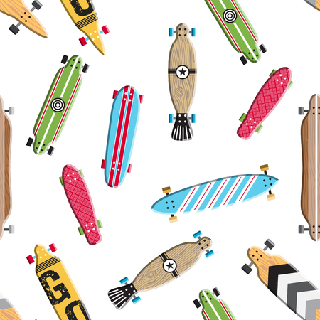 subculture: Seamless pattern with vector images skateboards, isolated on white background, wrapping skateboards Illustration