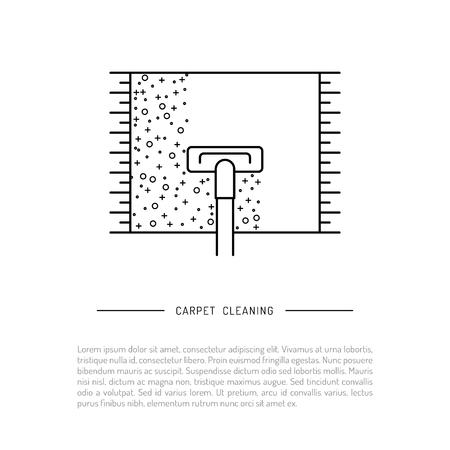 Geïsoleerd op witte achtergrond vector afbeelding reiniging van tapijt met stofzuiger, stomerij logo Stock Illustratie