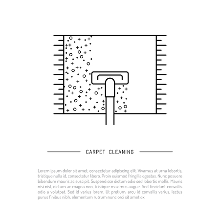 Isolated on white background vector image cleaning of carpeting with vacuum cleaner, dry cleaning logo
