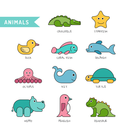 A set of baby bath toys depicting animals that come into contact with water or live input, All the animals are isolated and painted in flat cartoon style