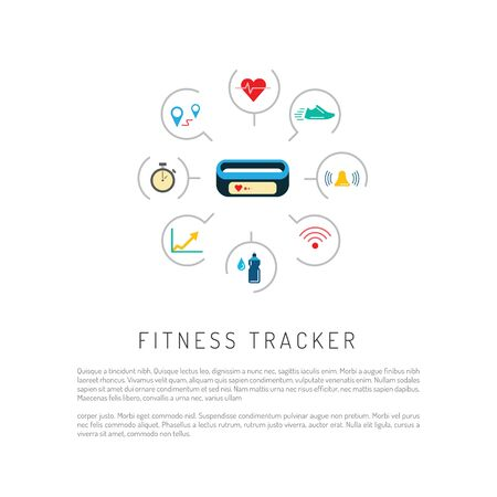gps device: Vector Banner with a means of tracking activity, a fitness bracelet. The concept of fitness gadget with icons its functionality.