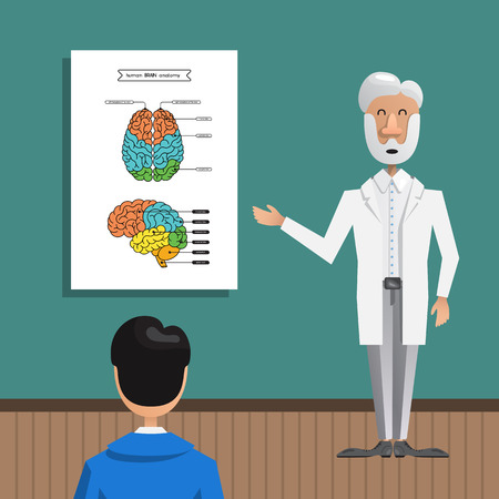a Professor tells a lecture to students about the structure and anatomy of the brain. A poster with a picture of the brain in two projections.