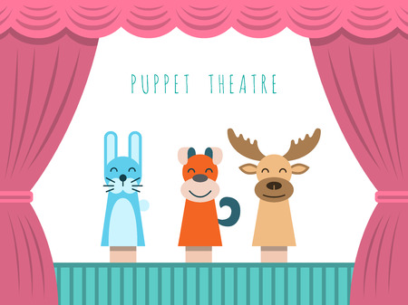 Childrens performance in the puppet theater at the theater with price, curtain and scenery. Ilustração