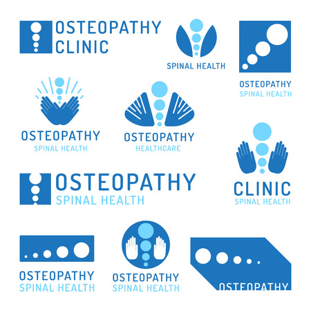 Set of logos of the osteopathy, alternative medicine, chiropractic. Vector icons in flat style isolated on white background.
