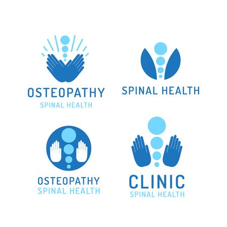 Conjunto de logotipos de vector de la preservación de la salud y el tratamiento de dolor de espalda se dibuja en estilo plano aisladas sobre fondo blanco Logos