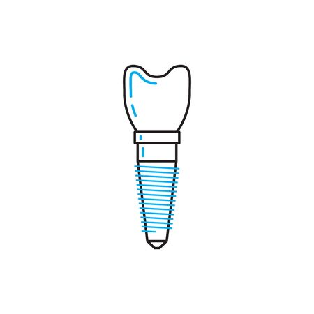 orthodontist: Dental implant vector icon drawn in the linear style, vector illustration isolated on white background. Medical banner with place for text Illustration