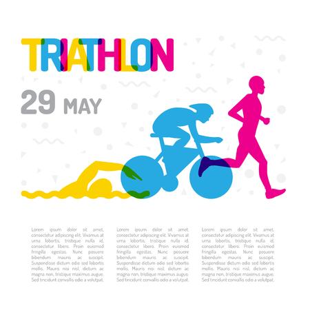 Banner on the theme of sport, triathlon. Silhouettes of athletes, swimmer, cyclist, runner, drawn on a white isolated background, the layout is made with place for text.