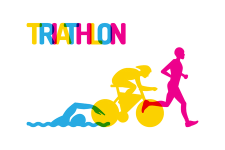 Banner on the theme of sport, triathlon. Silhouettes of athletes, swimmer, cyclist, runner, drawn on a white isolated background, colored flat logo